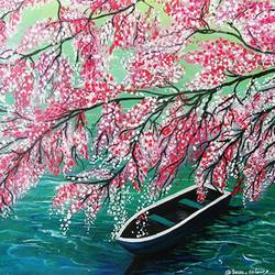 cherry tree and boat, 10 x 12 inch, vgo cart,10x12inch,canvas,paintings,nature paintings | scenery paintings,acrylic color,GAL01132726962