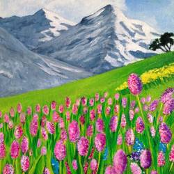 flower valley, 9 x 12 inch, asra fatima,9x12inch,canvas board,paintings,flower paintings,landscape paintings,paintings for living room,acrylic color,GAL0647126966