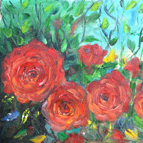 roses in the garden, 10 x 8 inch, aneesa rani,paintings for office,flower paintings,canvas,oil,10x8inch,GAL010682697