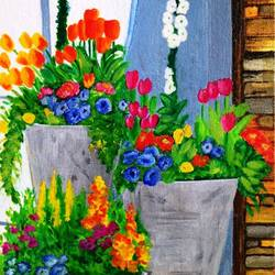 flower pots, 8 x 10 inch, asra fatima,8x10inch,canvas board,paintings,flower paintings,still life paintings,paintings for dining room,paintings for living room,paintings for bedroom,paintings for office,paintings for hotel,paintings for kitchen,paintings for school,paintings for hospital,acrylic color,GAL0647126972
