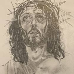 crown of thorns , 12 x 8 inch, an joseph,12x8inch,drawing paper,portrait drawings,graphite pencil,GAL01611626975