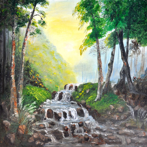 river in the forest, 20 x 16 inch, aneesa rani,landscape paintings,paintings for office,water fountain paintings,canvas,oil paint,20x16inch,GAL010682698