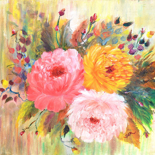 peonies, 12 x 10 inch, aneesa rani,flower paintings,paintings for living room,canvas,oil paint,12x10inch,GAL010682699