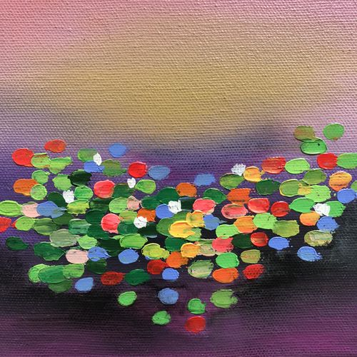 abstract lotus pond, 6 x 6 inch, amita dand,6x6inch,canvas board,paintings,abstract paintings,modern art paintings,paintings for dining room,paintings for living room,paintings for office,paintings for kids room,paintings for hotel,paintings for hospital,acrylic color,mixed media,GAL0146726995