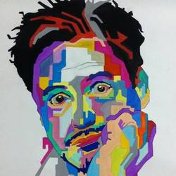 robert downey jr, 21 x 26 inch, jay ramani,portrait paintings,paintings for living room,thick paper,watercolor,21x26inch,GAL0114270