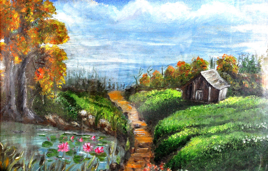 a farmhouse, 10 x 8 inch, aneesa rani,landscape paintings,paintings for living room,canvas,oil paint,10x8inch,GAL010682700
