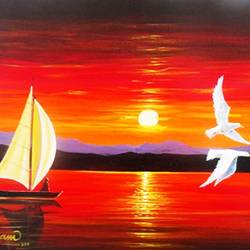 sailboat sunrise, 14 x 18 inch, vgo cart,14x18inch,canvas,paintings,abstract paintings,nature paintings | scenery paintings,acrylic color,GAL01132727020