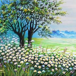white daisies flower garden, 12 x 16 inch, vgo cart,12x16inch,canvas,paintings,nature paintings | scenery paintings,acrylic color,GAL01132727022