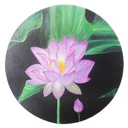 lotus in dark water, 12 x 12 inch, vgo cart,12x12inch,canvas,flower paintings,acrylic color,GAL01132727026