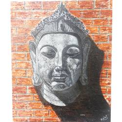 buddha face on a brick, 12 x 10 inch, vgo cart,12x10inch,canvas,paintings,religious paintings,paintings for dining room,paintings for living room,paintings for bedroom,paintings for office,paintings for hotel,paintings for school,paintings for hospital,acrylic color,GAL01132727028