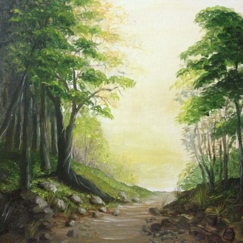 a road in the forest, 20 x 16 inch, aneesa rani,landscape paintings,paintings for living room,canvas,oil paint,20x16inch,GAL010682703