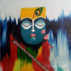 lord krishna, 19 x 21 inch, apeksha agrawal,19x21inch,oil sheet,paintings,modern art paintings,religious paintings,radha krishna paintings,oil color,GAL01501127045,krishna,Lord krishna,krushna,radha krushna,flute,peacock feather,melody,peace,religious,god,flower,leaves