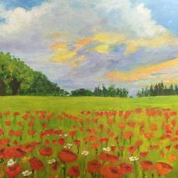 poppy field, 8 x 10 inch, asra fatima,8x10inch,canvas board,paintings,flower paintings,landscape paintings,nature paintings | scenery paintings,paintings for dining room,paintings for living room,paintings for bedroom,paintings for office,paintings for kids room,paintings for hotel,paintings for kitchen,paintings for school,paintings for hospital,oil color,GAL0647127048