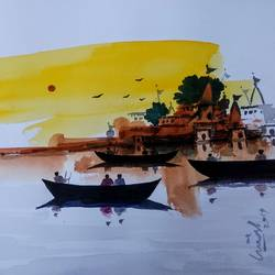 varanasi ghat, 8 x 11 inch, girish chandra vidyaratna,8x11inch,paper,paintings,religious paintings,paintings for living room,watercolor,GAL03627049