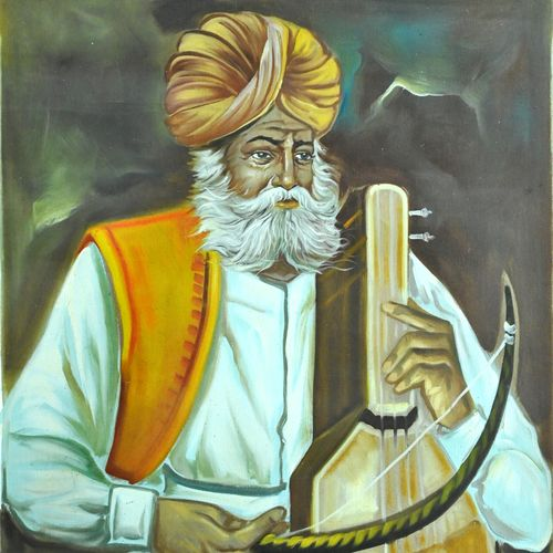 indian old man , 19 x 25 inch, vishal gurjar,19x25inch,canvas,paintings,portrait paintings,paintings for living room,paintings for hotel,paintings for school,oil color,GAL0778127055
