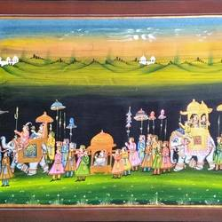 kishangarh shelly, 22 x 16 inch, vishal gurjar,22x16inch,cloth,paintings,miniature painting.,paintings for living room,paintings for hotel,paintings for school,oil color,GAL0778127075