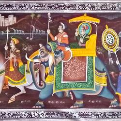 kishangarh shelly, 60 x 20 inch, vishal gurjar,60x20inch,cloth,paintings,miniature painting.,paintings for living room,paintings for hotel,paintings for school,oil color,GAL0778127076