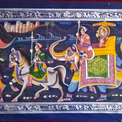 kishangarh shelly, 60 x 20 inch, vishal gurjar,60x20inch,cloth,paintings,miniature painting.,paintings for living room,paintings for hotel,paintings for school,oil color,GAL0778127077