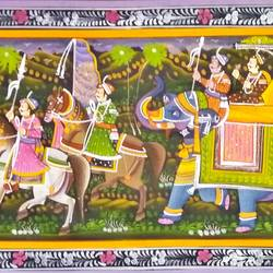 kishangarh shelly, 60 x 20 inch, vishal gurjar,60x20inch,cloth,paintings,miniature painting.,paintings for living room,paintings for hotel,paintings for school,oil color,GAL0778127078