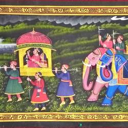 kishangarh shelly, 60 x 19 inch, vishal gurjar,60x19inch,cloth,paintings,miniature painting.,paintings for living room,paintings for hotel,paintings for school,oil color,GAL0778127084