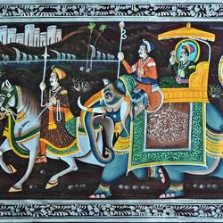 kishangarh shelly, 37 x 16 inch, vishal gurjar,37x16inch,cloth,paintings,miniature painting.,paintings for living room,paintings for hotel,paintings for school,oil color,GAL0778127086