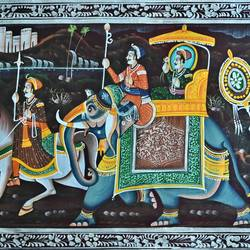 kishangarh shelly, 37 x 16 inch, vishal gurjar,37x16inch,cloth,paintings,miniature painting.,paintings for living room,paintings for hotel,paintings for school,oil color,GAL0778127088