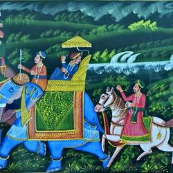 kishangarh shelly, 36 x 16 inch, vishal gurjar,36x16inch,cloth,paintings,miniature painting.,paintings for living room,paintings for hotel,paintings for school,oil color,GAL0778127094