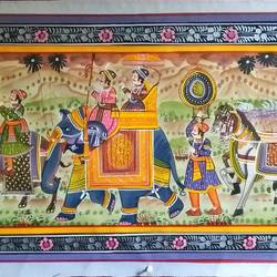 kishangarh shelly, 37 x 16 inch, vishal gurjar,37x16inch,cloth,paintings,miniature painting.,paintings for living room,paintings for hotel,paintings for school,oil color,GAL0778127095