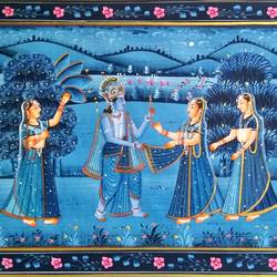 radha krishna, 20 x 15 inch, vishal gurjar,20x15inch,cloth,paintings,miniature painting.,paintings for living room,paintings for hotel,oil color,GAL0778127100