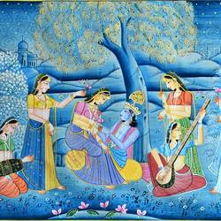 radha krishna, 22 x 16 inch, vishal gurjar,22x16inch,cloth,paintings,miniature painting.,paintings for living room,paintings for hotel,oil color,GAL0778127102