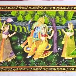 radha krishna, 46 x 17 inch, vishal gurjar,46x17inch,cloth,paintings,miniature painting.,paintings for living room,paintings for hotel,oil color,GAL0778127103