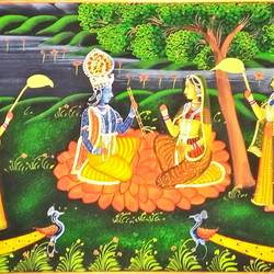 radha krishna, 30 x 13 inch, vishal gurjar,30x13inch,cloth,paintings,miniature painting.,paintings for living room,paintings for hotel,oil color,GAL0778127106