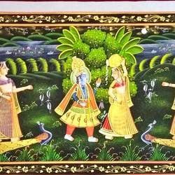 radha krishna, 46 x 17 inch, vishal gurjar,46x17inch,cloth,paintings,miniature painting.,paintings for living room,paintings for school,oil color,GAL0778127107