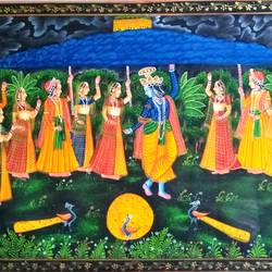 radha krishna, 30 x 20 inch, vishal gurjar,30x20inch,cloth,paintings,miniature painting.,paintings for living room,paintings for school,oil color,GAL0778127108