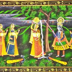 radha krishna, 30 x 13 inch, vishal gurjar,30x13inch,cloth,paintings,miniature painting.,paintings for living room,paintings for hotel,oil color,GAL0778127109