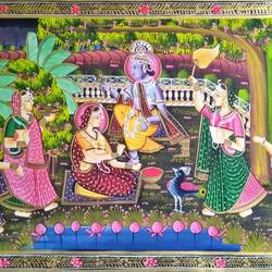 radha krishna, 29 x 18 inch, vishal gurjar,29x18inch,cloth,paintings,miniature painting.,paintings for living room,paintings for hotel,oil color,GAL0778127110