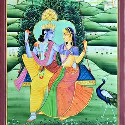 radha krishna, 19 x 27 inch, vishal gurjar,19x27inch,cloth,paintings,paintings for living room,paintings for bedroom,paintings for school,oil color,GAL0778127111