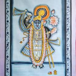 shree nath ji , 19 x 28 inch, vishal gurjar,19x28inch,cloth,paintings,religious paintings,miniature painting.,paintings for living room,paintings for hotel,oil color,GAL0778127113