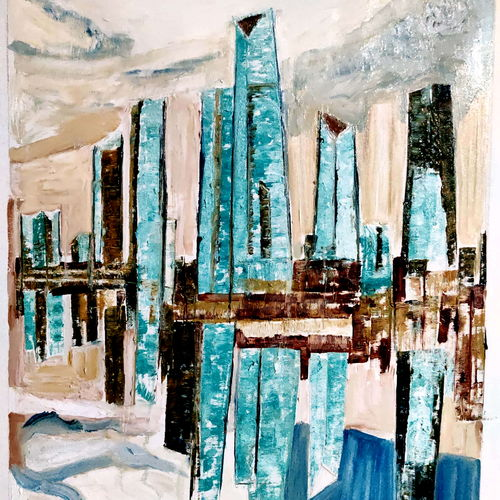manhattan world trade center, 32 x 42 inch, anand manchiraju,32x42inch,canvas,abstract paintings,cityscape paintings,paintings for dining room,paintings for living room,paintings for bedroom,paintings for office,paintings for hotel,paintings for dining room,paintings for living room,paintings for bedroom,paintings for office,paintings for hotel,oil color,GAL01254027125