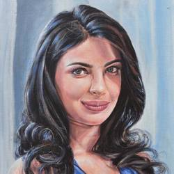 pretty priyanka, 14 x 18 inch, debojyoti boruah,14x18inch,canvas board,paintings,figurative paintings,portrait paintings,photorealism,portraiture,realism paintings,realistic paintings,paintings for dining room,paintings for living room,paintings for bedroom,paintings for office,paintings for kids room,paintings for hotel,paintings for kitchen,acrylic color,GAL01261427127