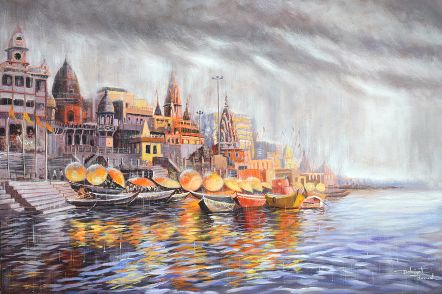 divine varanasi, 30 x 20 inch, debojyoti boruah,30x20inch,canvas,paintings,cityscape paintings,landscape paintings,religious paintings,nature paintings | scenery paintings,impressionist paintings,contemporary paintings,paintings for dining room,paintings for living room,paintings for bedroom,paintings for office,paintings for hotel,paintings for kitchen,paintings for school,paintings for hospital,acrylic color,GAL01261427128