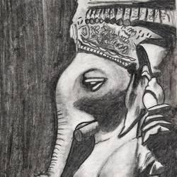 the guest, 12 x 17 inch, karan dhangar,12x17inch,paper,drawings,ganesha drawings,paintings for dining room,paintings for living room,paintings for office,paintings for hotel,paintings for school,paintings for hospital,charcoal,paper,GAL01556227131