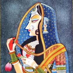 queen, 15 x 18 inch, vishal gurjar,15x18inch,cloth,paintings,miniature painting.,paintings for hotel,oil color,GAL0778127134