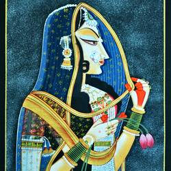 queen, 25 x 40 inch, vishal gurjar,25x40inch,cloth,paintings,miniature painting.,paintings for hotel,oil color,GAL0778127139
