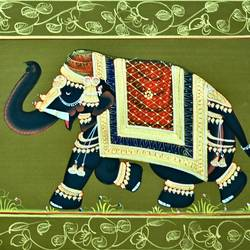 royal elephant, 13 x 17 inch, vishal gurjar,13x17inch,cloth,paintings,miniature painting.,paintings for hotel,oil color,GAL0778127143