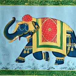 royal elephant, 21 x 15 inch, vishal gurjar,21x15inch,cloth,paintings,elephant paintings,miniature painting.,paintings for hotel,oil color,GAL0778127144