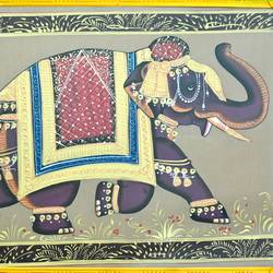 royal elephant, 21 x 15 inch, vishal gurjar,21x15inch,cloth,paintings,elephant paintings,miniature painting.,paintings for hotel,oil color,GAL0778127145