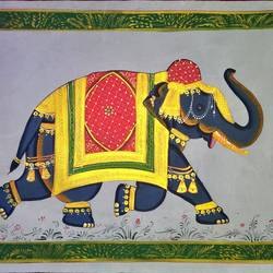 royal elephant, 27 x 19 inch, vishal gurjar,27x19inch,cloth,paintings,elephant paintings,miniature painting.,paintings for hotel,oil color,GAL0778127147