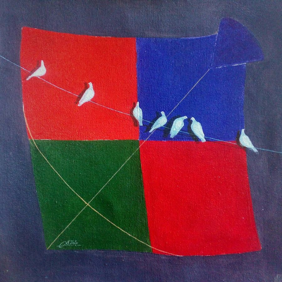 kite and birds joy, 12 x 12 inch, shiv kumar soni,paintings for bedroom,square,animal paintings,kids paintings,canvas,acrylic color,12x12inch,GAL0302715