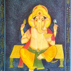 lord ganesha, 18 x 27 inch, vishal gurjar,18x27inch,cloth,paintings,religious paintings,ganesha paintings | lord ganesh paintings,miniature painting.,paintings for living room,paintings for hotel,oil color,GAL0778127150,ganpati,ganesha,lord ganesh,elephant god,religious,ganpati bappa morya,mouse,mushakraj,ladoo,sweets